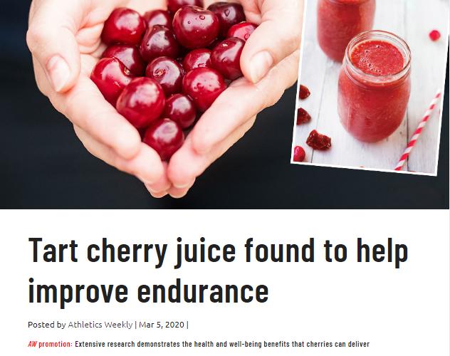 Tart cherry juice found to help improve endurance